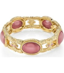 2028 gold tone pink moonstone stretch bracelet