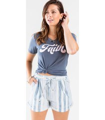 tash striped drawstring shorts - blue