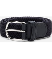 anderson's men's polished silver buckle woven belt - navy - w36/xl