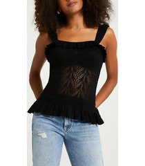 river island womens black lace frill stitched tank top
