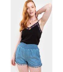 harper heritage chambray pom shorts - chambray