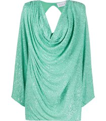 nervi carol sequin cowl-neck dress - green