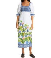 women's farm rio vase forest cotton maxi dress, size large - white