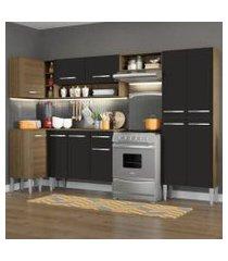 cozinha completa de canto reto madesa emilly sun com armário e balcão 11 portas 1 gaveta rustic/preto