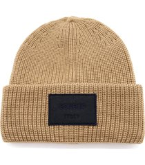 dondup honey wool hat with logo