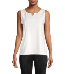 calvin klein women's embellished split-neck top - soft white - size s