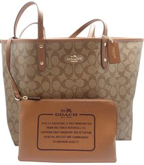 coach new tag popular signature leather reversible city tote in khaki/saddle