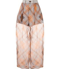 emporio armani oversized check sheer trousers - grey