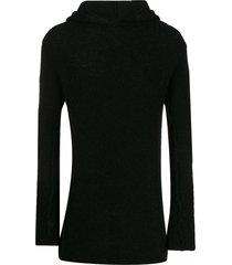 thom krom textured hoodie - black