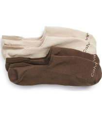 men's calvin klein 2-pack performance no-show socks, size one size - beige