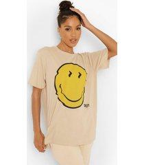 gelicenseerd oversized smiley t-shirt, stone