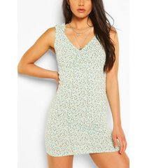 floral print ruched strap mini dress, sage