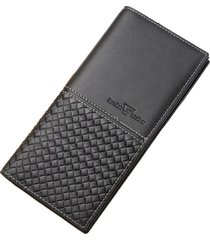 billetera, cartera tejida larga de la cremallera de la-negro