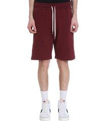 john elliott crimson short shorts in bordeaux cotton