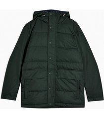 mens selected homme green leno puffer jacket