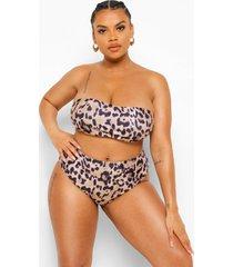 plus luipaardprint strapless bikini top, brown