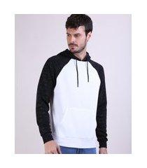 blusão de moletom masculino básico raglan com bolso canguru e capuz branco