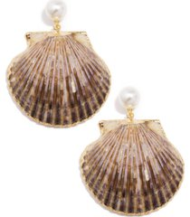 zenzii gold-tone imitation pearl & shell drop earrings