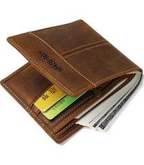 5 slot per schede portafoglio di cuoio genuino portafoglio per biglietti da visita della moneta da business dell'annata per gli uomini