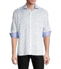 bertigo men's fish-print long-sleeve linen shirt - white - size s