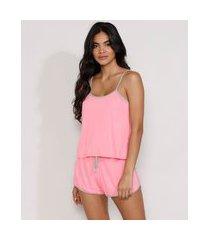 pijama feminino regata com viés contrastante rosa
