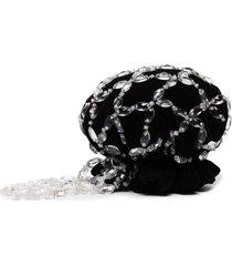 shrimps beaded bun headband - black
