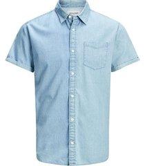 overhemd korte mouw jack & jones 12171333 jcoken shoirt ss one pocket light blue denim