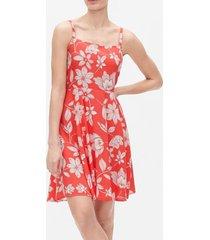 vestido sin mangas floreado rojo gap