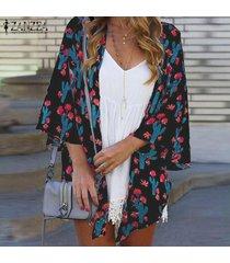 zanzea para mujer de la manga del batwing de la impresión floral de túnica remata la blusa cardiagn coats plus -negro