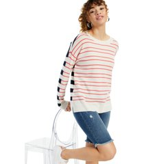 cashmere mix it up stripe long-sleeve crewneck sweater, created for macy's