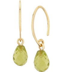 gemstone briolette drop earring in 14k yellow gold available in amethyst, garnet, citrine, and peridot.