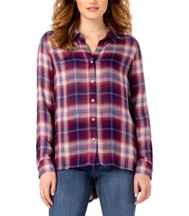 women's liverpool plaid button back oversize shirt