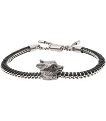 emporio armani men's wolf head stainless steel id bracelet