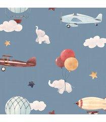 papel de parede balã£o elefante e aviãµes infantil 57x270cm - multicolorido - dafiti