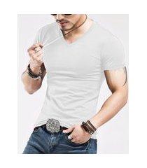 camiseta slim fit masculina gola v frozini lycra branca