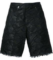 a.f.vandevorst crumpled frayed shorts - black
