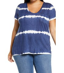 plus size women's caslon rounded v-neck tee, size 1x - blue