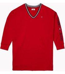 tommy hilfiger women's v-neck sweatshirt dress scarlet - xxs