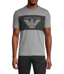 armani jeans men's heathered logo graphic t-shirt - grey - size m