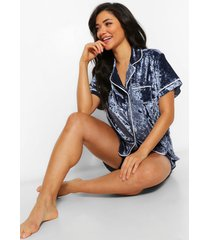 crushed velvet button through pyjama short set, navy