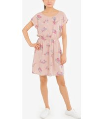 pink rose juniors' printed strappy-back dress