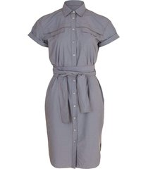 poplin button collared dress