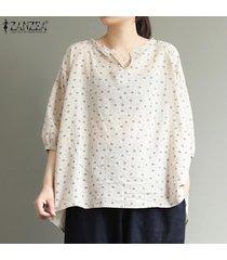 zanzea las mujeres más del tamaño casual cuello en v tapas florales de verano camisas flojas de la blusa -beige