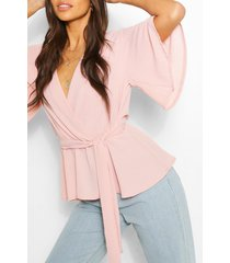 frill sleeve blouse, blush