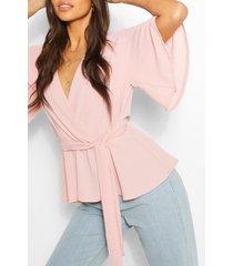 blouse met franjes mouwen, blush