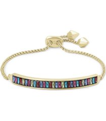 kendra scott 14k gold-plated multicolor baguette-cut nano gem slider bracelet