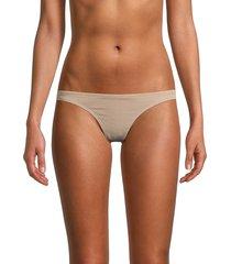 free people movement women's textured bikini bottom - bimini beige - size s