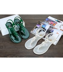 beach shoes roses jellies sandals chain flats women shoes vacation