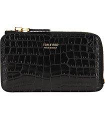 tom ford crocodile-effect zipped wallet