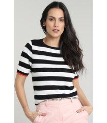 blusa feminina listrado em tricô manga curta decote redondo branca